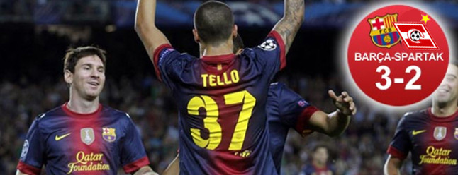 Tello y Messi salvaron al Bar�a