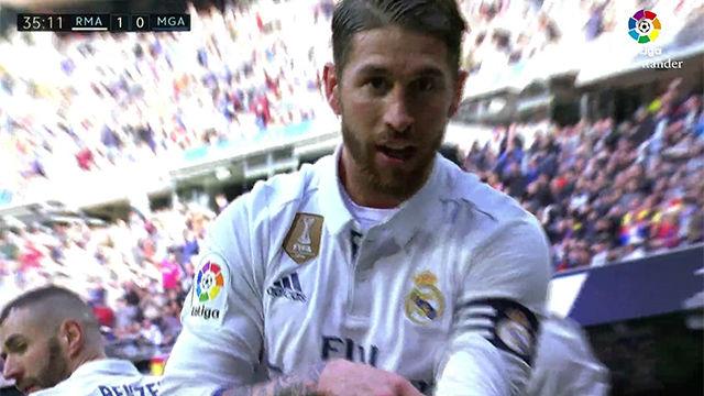 Video resumen: Curiosa celebración de Ramos en el primer gol del Madrid - Málaga