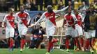 Bakayoko celebra el gol con el que el Mónaco eliminó al City