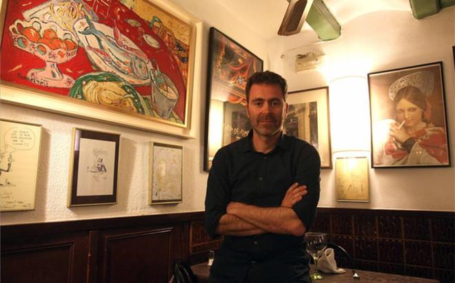 Pol Rodr�guez, en el restaurante que regenta su padre
