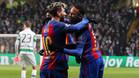 Leo Messi y Neymar Junior celebran uno de los goles del Barça frente al Celtic disputado en Glasgow en la Champions 2016/17