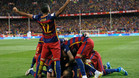 GRA384. MADRID, 22/05/2016.- Los jugadores del FC Barcelona celebran el gol ante el Sevilla, durante la final de la Copa del Rey que disputan esta noche en el estadio Vicente Calder�n, en Madrid. EFE/JuanJo Mart�n