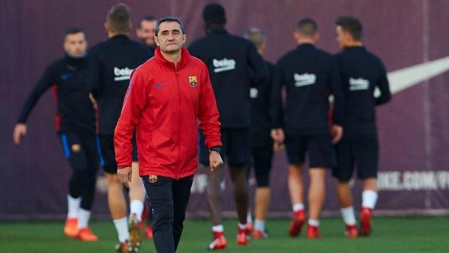 El entrenamiento del Barcelona antes de enfrentarse a la Juventus