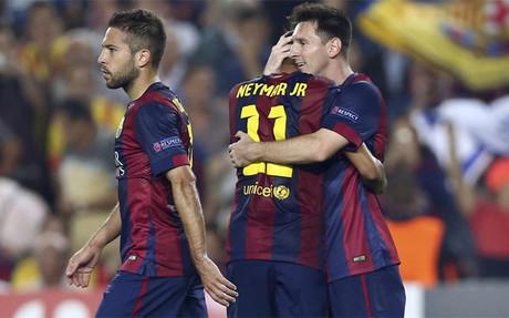 Los compa�eros estuvieron muy cari�osos con Messi