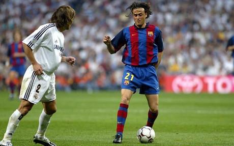 Luis Enrique, en uno de sus duelos ante el Real Madrid