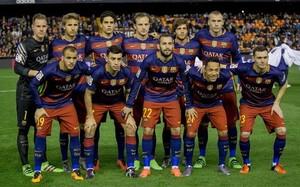 El once inicial del FC Barcelona en el partido de vuelta de las semifinales de la Copa del Rey 2015/16 contra el Valencia CF