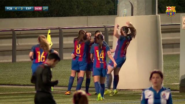 El golazo de Claudia Pina a lo Messi que decidió el derbi juvenil