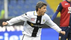 Hernán Crespo con la camiseta del Parma, su último equipo (2010-2012)