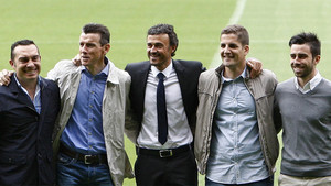 Joaquín Valdés, Juan Carlos Unzué, Robert Moreno y Rafel Pol, aquí junto a Luis Enrique, seguirán juntos, ahora en las filas del RC Celta
