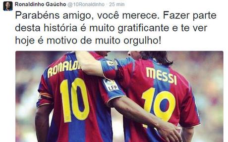 El homenaje de Ronaldinho a Messi