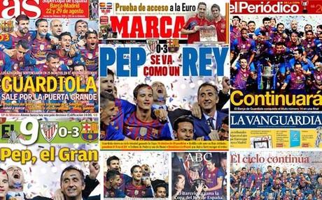 El triunfo del Barça en la Copa centra las portadas de la prensa este sábado