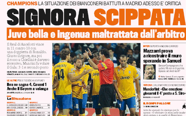 1382609657808 Gazzetta Dello Sport front page trolls referee for Juves Bernabeau defeat: Mr Snatcher