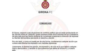 Este es el comunicado del Girona