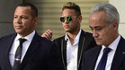 Neymar Junior y su padre Neymar da Silva acudiendo a su comparecencia ante la Audiencia Nacional en Madrid