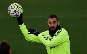 Benzema, en el entrenamiento