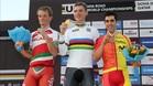 Castroviejo, en el podio junto al campe�n, Tony Martin y bieloruso Kiryienka, plata