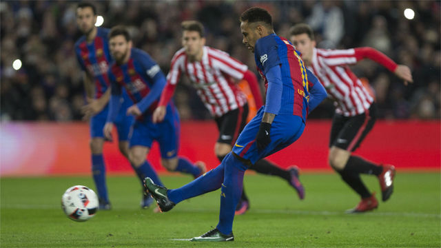 Video resumen: La paradinha de Neymar en el penalti anotado en el FC Barcelona - Athletic Club (3-1). Vuelta octavos Copa del Rey 16-17