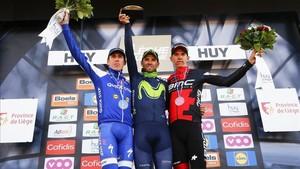 Valverde tras la victoria en el Muro de Huy