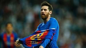 Leo Messi, en la celebración del gol