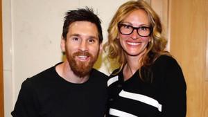 Leo Messi con Julia Roberts en el Santiago Bernabéu