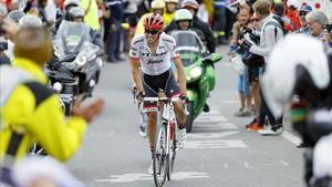 Contador, durante la ascensión al Galibier