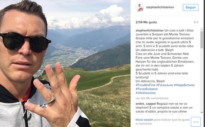 Lichsteiner colg� este mensaje en Instagram
