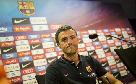 Luis Enrique en la sala de prensa de la Ciutat Esportiva del Bar�a