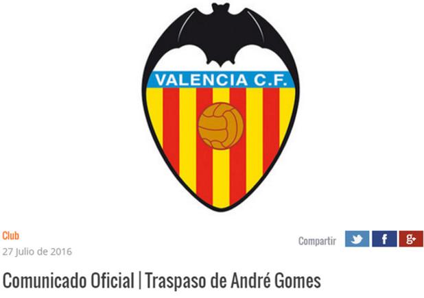 El Valencia emiti� un comunicado sobre el traspaso de Andr� Gomes