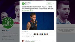 ESPN FC da por hecho el acuerdo entre Neymar y el PSG