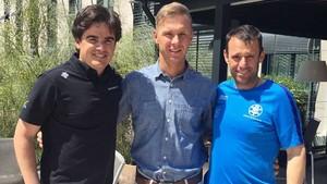 Olmo Hernán, Director General de la RFEDI, Simone Malusa, nuevo entrenador de SBX y Lluís Breitfuss, Responsable deportivo