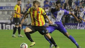 El Lleida, con la camiseta de la senyera