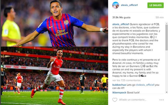 Alexis S�nchez, agradecido al FC Barcelona