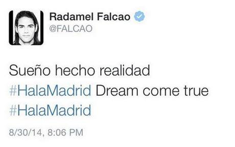 Este es el twit que public� Falcao