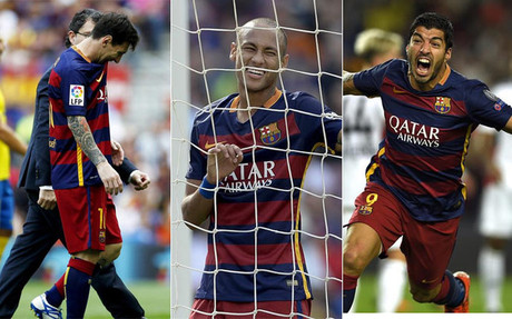 Messi, Neymar y Luis Su�rez, el tridente del Bar�a