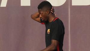 Ousmane Dembélé durante un entrenamiento con el FC Barcelona en la Ciudad Deportiva Joan Gamper