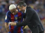 Neymar y Luis Enrique durante un partido del Bar�a