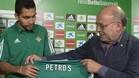 El presidente del Betis, Juan Carlos Ollero, ha presentado este martes a Petros y ha anunciado otros tres fichajes: Digard, Pezzella y Piccini
