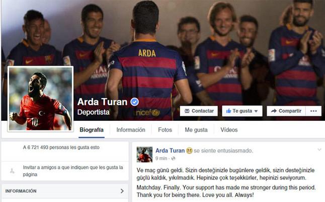 """Arda Turan, entusiasmado: """"D�a de partido �Por fin!"""""""