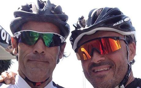 Tres im�genes de la matinal ciclista de Luis Enrique y Unzu�