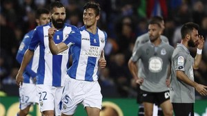 Mantovani, celebrando su gol al Deportivo
