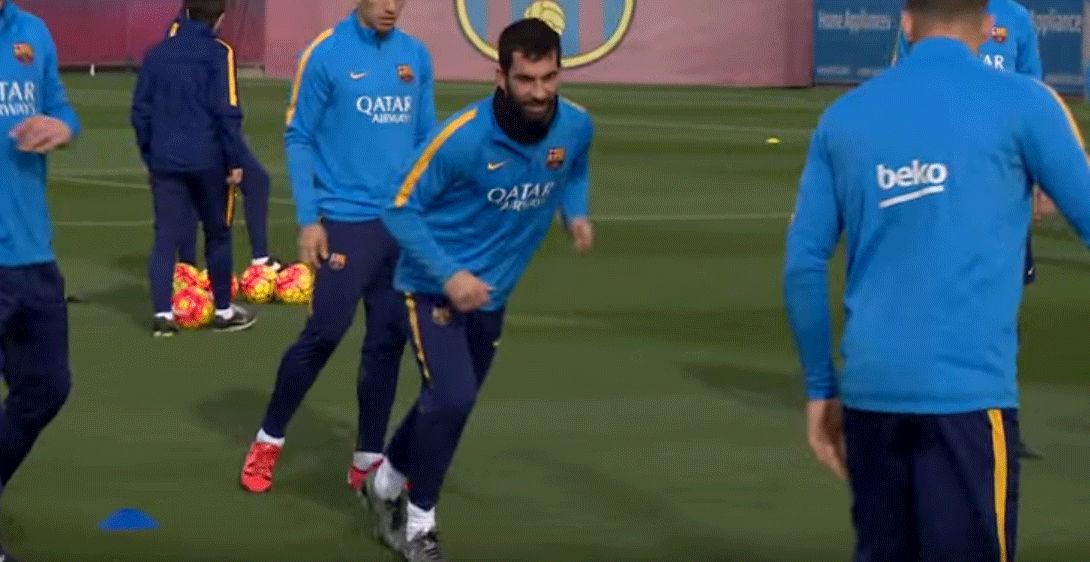 Sonrisas del tridente tras la 'batalla' contra el Espanyol