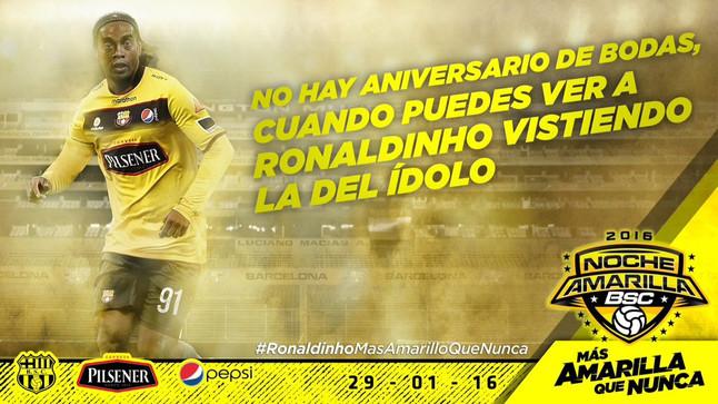 Ronaldinho jugar� con el Barcelona de Guayaquil el 29 de enero