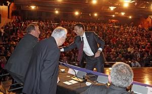 Josep Maria Bartomeu durante la presentación del Espai Barça en Madrid en marzo de 2014