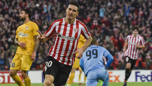 Aduriz celebra su gol, el segundo del Athletic ante los chipriotas