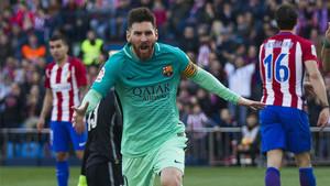 Messi celebra su gol frente al Atlético (1-2)