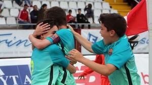 El Barça celebrando
