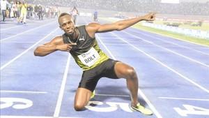 Bolt, celebrando una de sus victorias