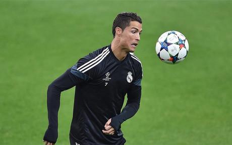 Cristiano Ronaldo, en el entrenamiento en el Juventus Stadium