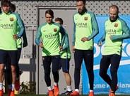 Entrenamiento de los jugadores del Barça