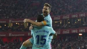 Messi y Paulinho celebraron en Leganés el cuarto gol del brasileño en el Barcelona